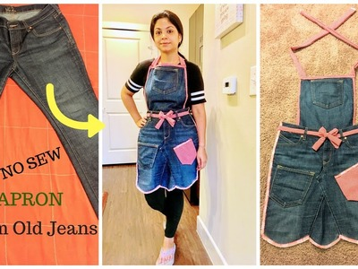 DIY NO Sew Apron from Old Jeans ll Recycle Old Denims