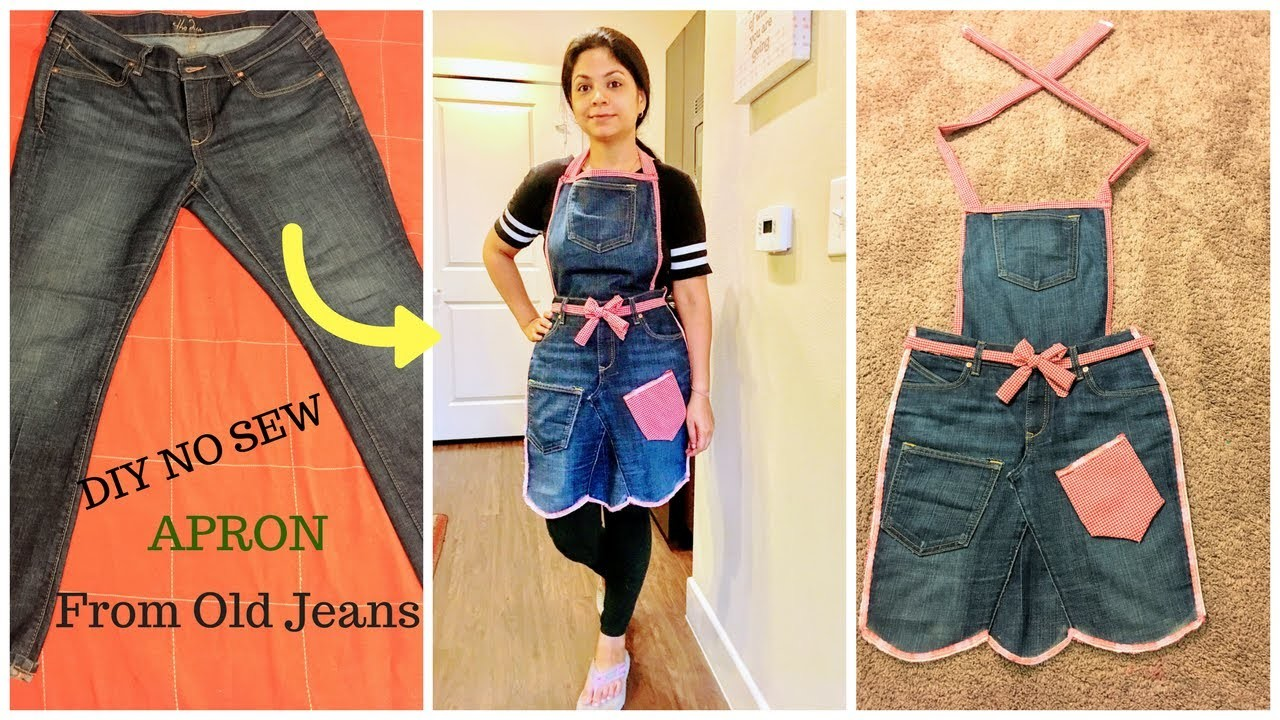 How To Make A Book Cover Out Of Old Jeans : Diy no sew apron from old jeans ll recycle denims