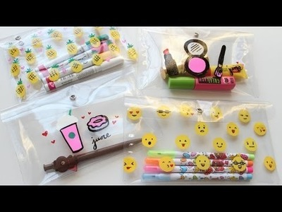 DIY School Supplies: Pencil Case. DIY Makeup Bag (Starbucks, Emoji, Pineapple, & Makeup)
