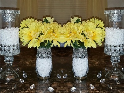 Dollar Tree DIY: Upgraded Bedazzled Candleholders.Wedding Centerpieces