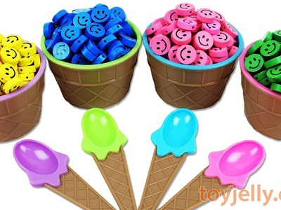 Learn Colors Ice Cream Candy Smile Surprise Egg Baby Doll Bath DIY How to Make Kinetic Sand Mask