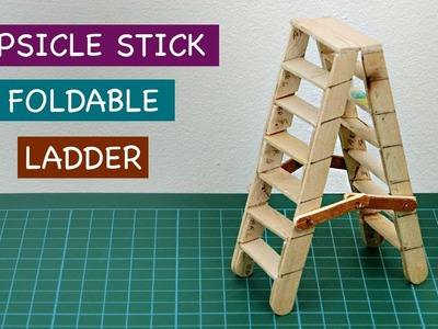 Miniature Popsicle Stick Foldable Ladder DIY | Crafts ideas