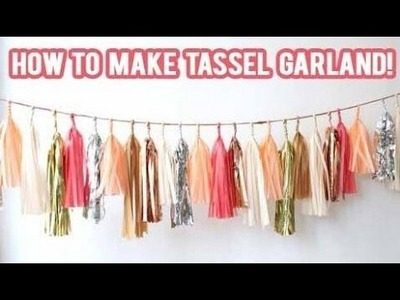 Pink and gold party decorations DIY How to make a Tassel Garland Banner!   NicoleMatthews  
