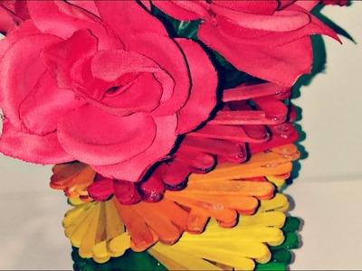 Popsicle Sticks Flower Vase    DIY Crafts Ideas