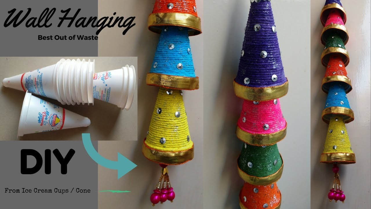 crafts that sell wall hanging from cups diy best out of waste 1772