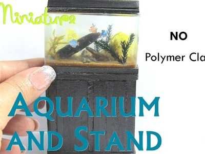 Aquarium and Stand Dollhouse Miniature Furniture using NO Polymer Clay