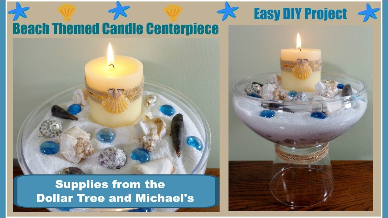 Beach themed diy candle centerpiece pinterest inspired