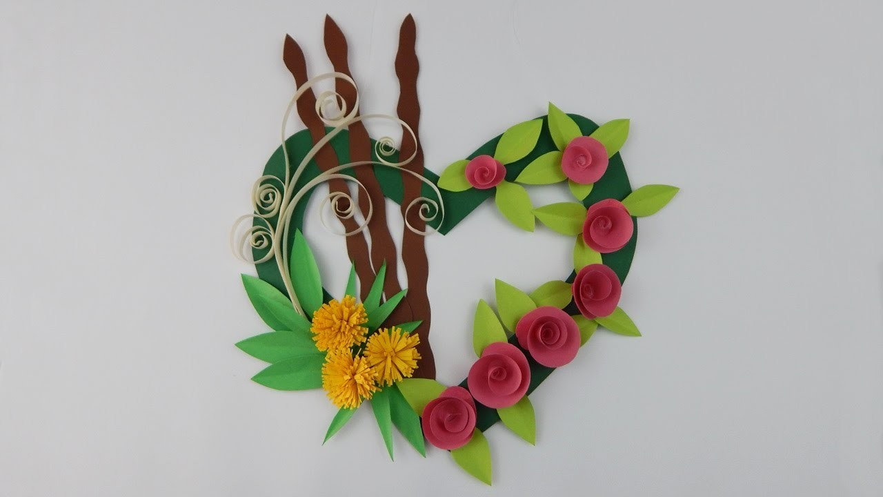 Decoration door wreath diy papercraft quilling wall deco for 3 wreath door decoration