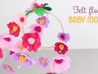 DIY Felt Flower Baby Mobile | Móvil de Flores de Fieltro