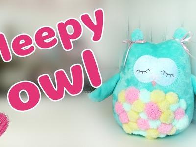 DIY How to sew plush pillow sleepy owl. Cute soft toy.