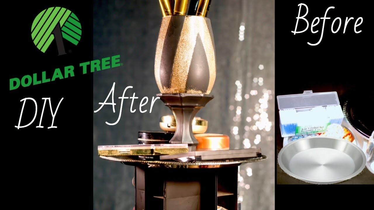 Dollar Tree DIY |  Pie Pans to make Rotating Makeup Organizer and Brush Holder