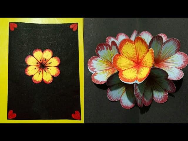 How to make DIY 3D flower POP UP card   Pop up Flower card Tutorial - Handmade