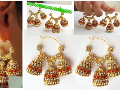 Making of paper Quilling bridal jhumkas | 3 in 1 fancy paper quilling jhumkas at home