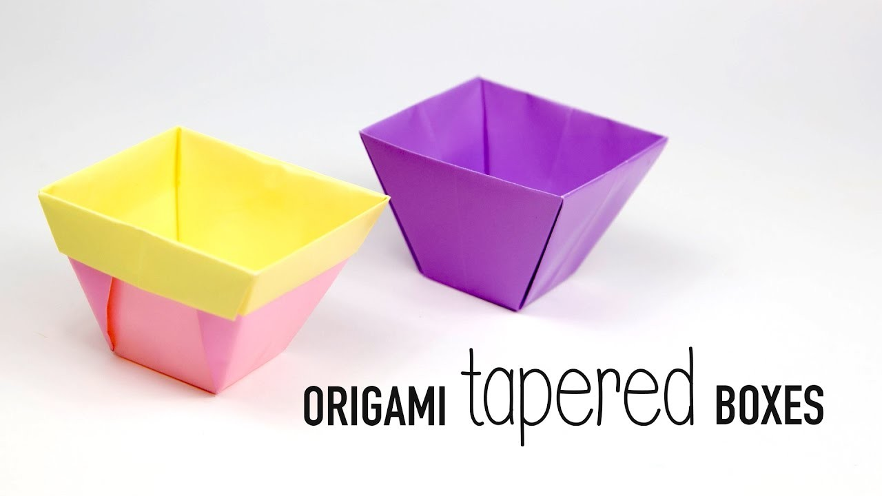Tapered Origami Box Origami Flower Pot Paper Kawaii