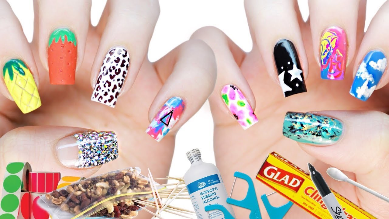 10 DIY Nail Art Designs Using HOUSEHOLD ITEMS!, The