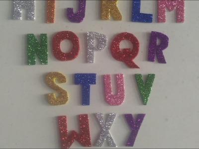 Alphabet cutting through glitter sheets|| kkj craft alphabets|| cutting of alphabet at home