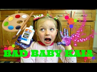 BAD BABY KAIA makes a MESS! DIY ART project. MOM FREAKS OUT! The TOYTASTIC Sisters.