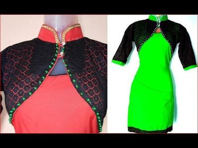 Bolero tunic top with chinese collar DIY चीनी कॉलर के साथ बोलेरो ट्यूनिक टॉप