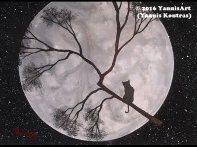 Cat on the Full Moon – Acrylic Painting on Canvas – for  Beginners