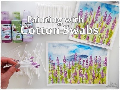 Cotton Swabs Painting Lavender Technique for Beginners ♡ Maremi's Small Art ♡