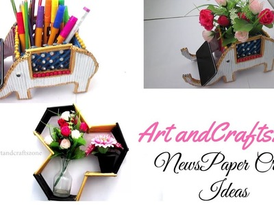 Craft Ideas with Newspaper | Newspaper crafts | Best Out of Waste | 2 Diy Newspaper crafts