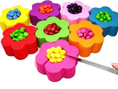 DIY Kinetic Sand Candy Skittles Flowers Learn Colors with Kinetic Sand Feet and Hands for Kids