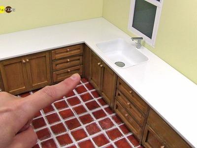 DIY Miniature L Shaped Kitchen Sink ミニチュアL字型の流し台作り