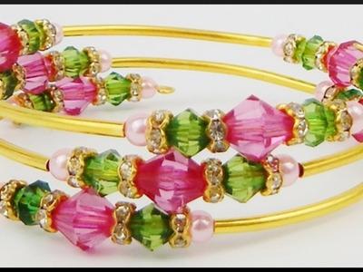DIY | Perlen Draht Armband | Schmuck basteln | Beaded Memory wire bracelet with bicones