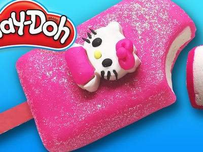DIY Play-Doh Learn Make Pink Hello Kitty Popsicle Ice-cream Toy Soda