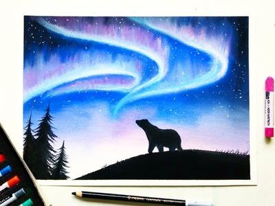 Drawing the Northern lights(Aurora borealis) with soft pastels | Leontine van vliet