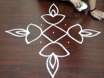 Easy rangoli designs for diwali with 7 to 1 dots- deepam kolam  designs - muggulu designs