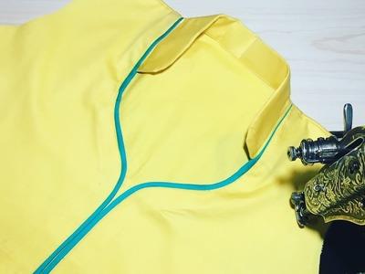 Half Collar Neck cutting and stitching