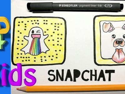 How to draw  Snapchat rainbow LOGO and dog FACE - easy for kids !
