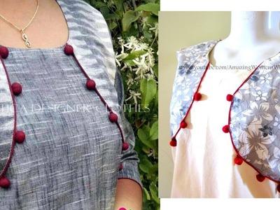 Jacket style Pattern Kurti | Kameez Cutting & Stitching | (DIY0