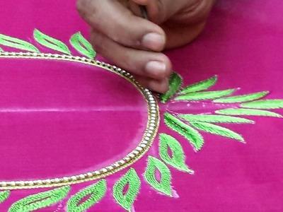 Making lotus Design on blouse with resham and Jardosi work - Maggam work blouse