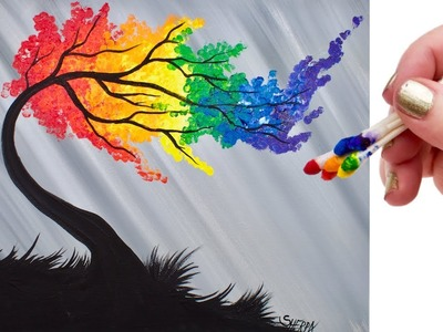 Rainbow Willow Tree Q Tip Acrylic Painting for Beginners tutorial ????????????