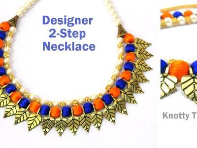 Silk Thread Jewelry   Designer Double Colour - 2 Step Necklace   Antique Design   KnottyThreadz.com