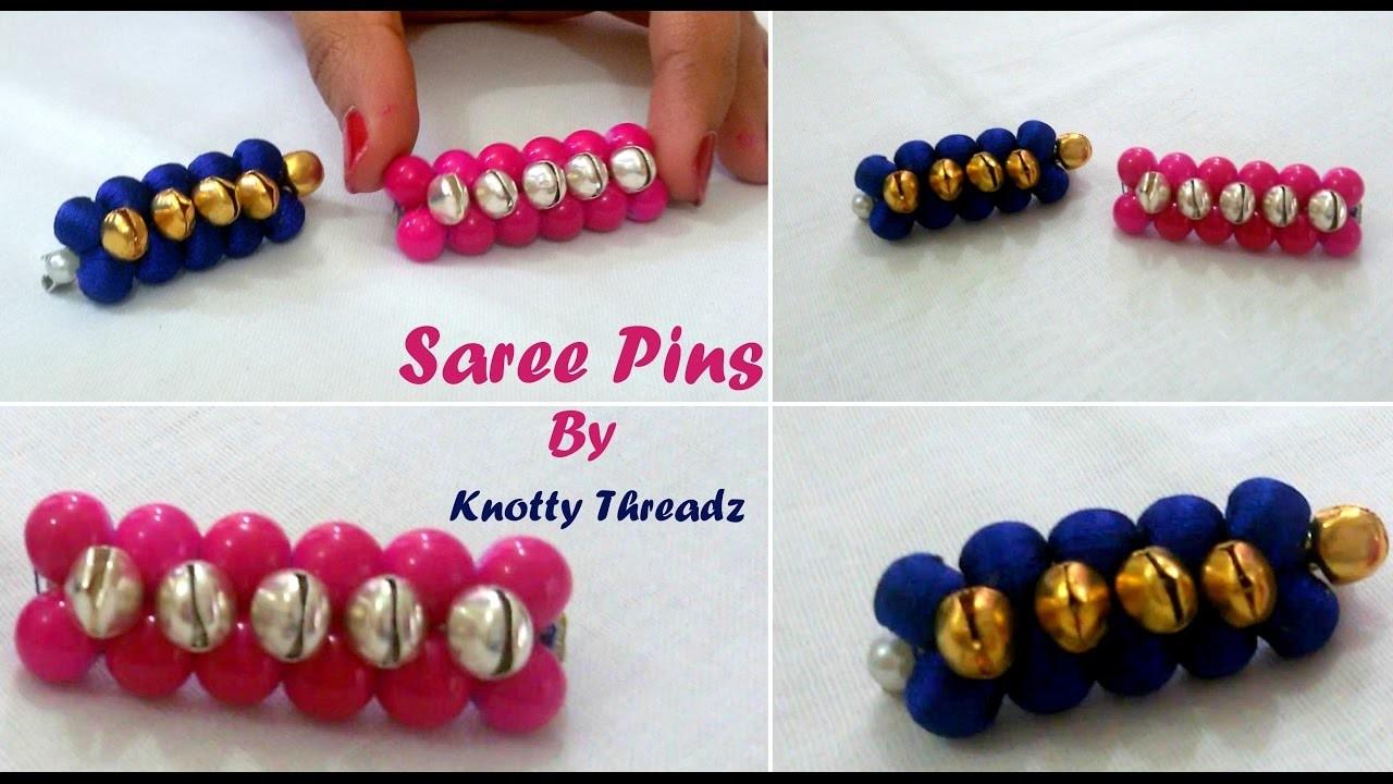 Silk Thread Jewelry | Making of Simple Saree Pins Using Silk Thread Beads & Glass Beads | DIY