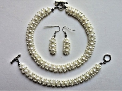 Simple  beaded jewelry set. How to make an elegant jewelry set for bride