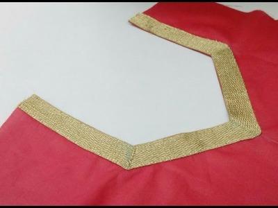 बहुत आसान तरीके से नैक के कोनो के हिस्सो पर लैस कैसे Attach करे। How to attach lace on neck's corner