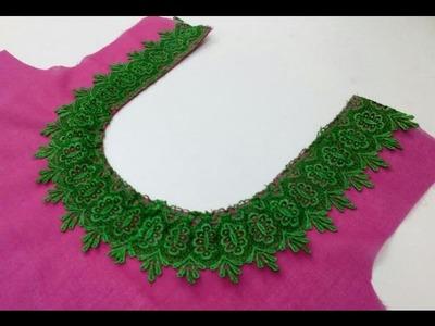 आसानी से घुमावदार (गोल) नैक पर चौड़ी लैस कैसे Attach करे। How to attach broad lace on round neck