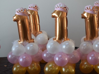 1st birthday princess party balloon decoration centerpiece idea easy and simple 5 mins to make