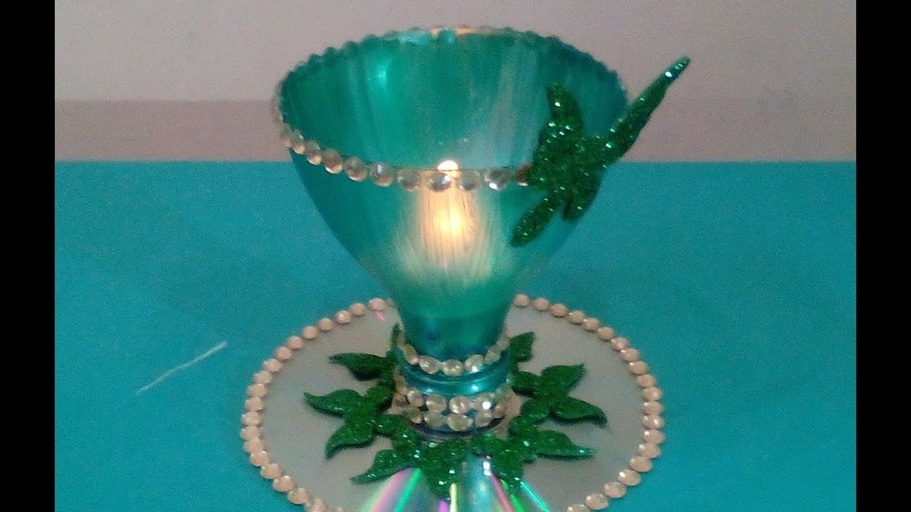 Best out of waste candle holder my crafts and diy projects for Best out of waste videos