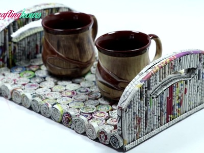Best Out of Waste Ideas: How to Make Serving Tray with Newspaper & Cardboard | By CraftingHours
