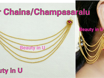 Bridal Accessories : Ear Chains. Champasaralu making at Home using Gold Ball Chain | Tutorial
