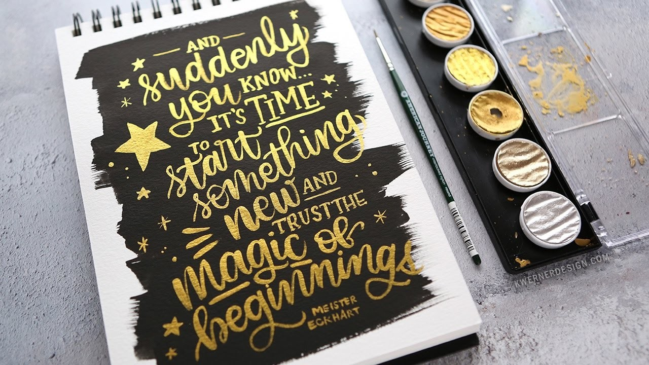Brush Lettering with Finetec Gold Pearl Water Colors