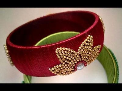 Flower stylish and trendy design silk thread bangle or kada designer piece  - SSC Arts 137