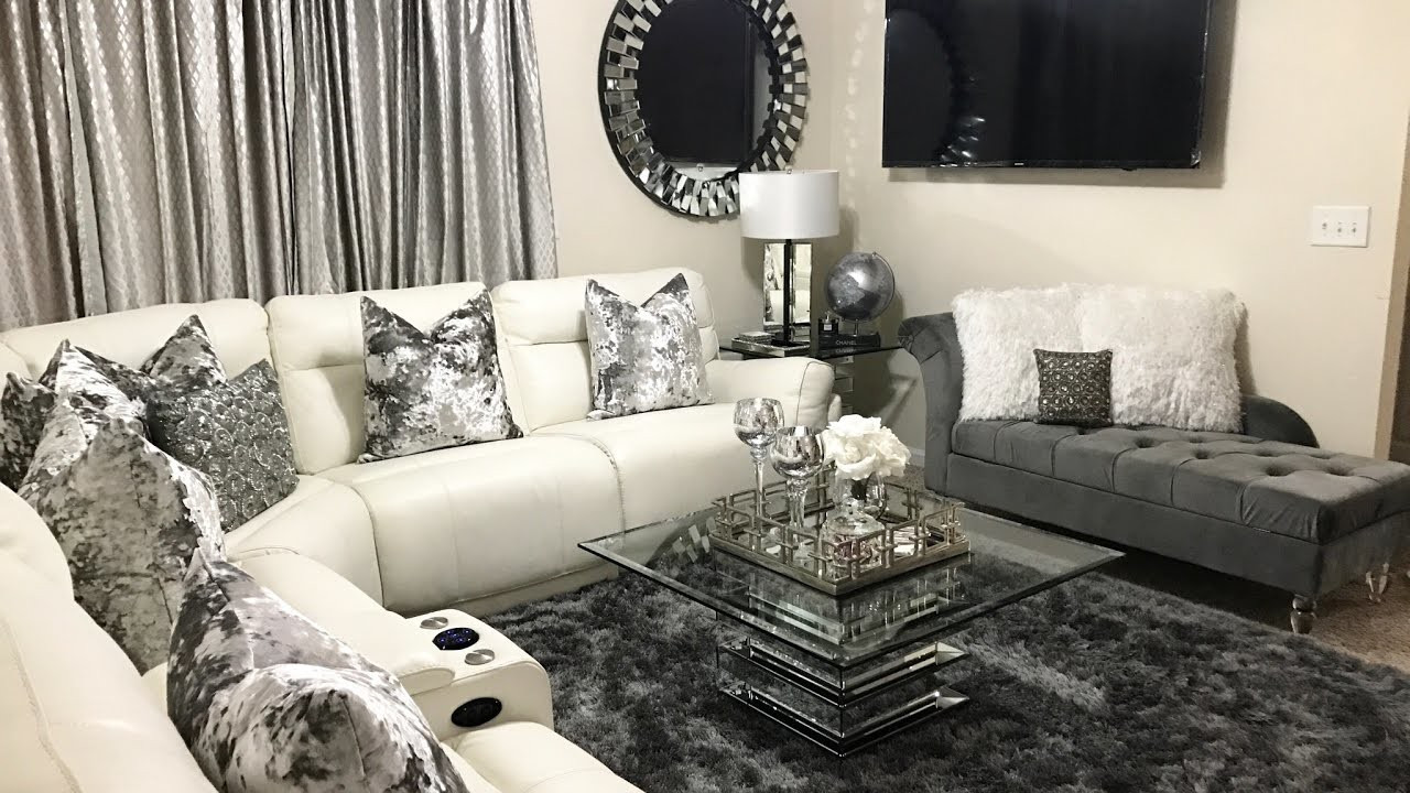 Glam living room tour home decor updates 2017 lgqueen for Glam modern living room