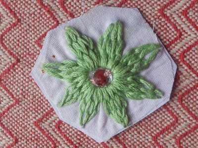 HAND EMBROIDERY: SEW A FLOWER USING SIMPLE CHAIN STITCH METHOD