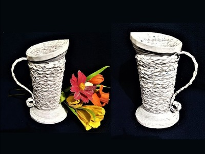 How To Make Flower Vase From Newspaper | Best out of waste | DIY | Newspaper Craft